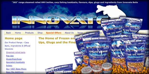 Innovate Baits website, packaging and stationery