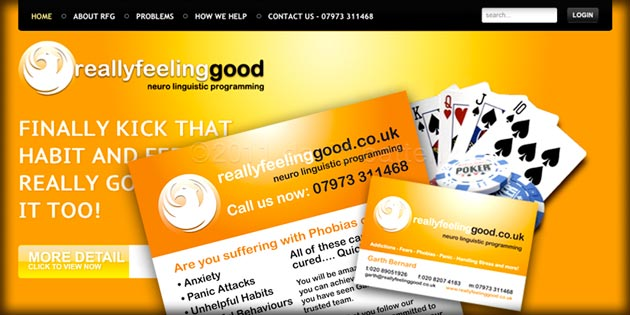 Really Feeling Good website, logo design and promotional material