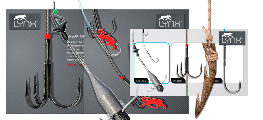 Illustrations for Lynx Fishing packaging and promotional display/adverts