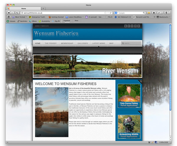 New web development project for Hooklinks in 2013 - Wensum Fisheries website